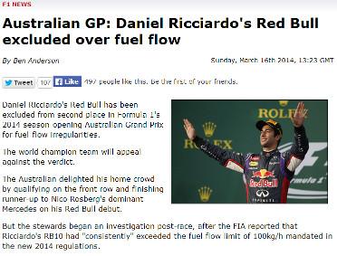 Daniel Ricciardo Disqualified